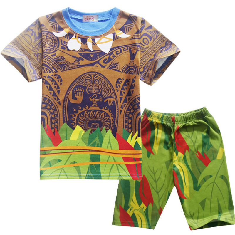 Baby Girls Clothes Sets Moana Maui Costume Kid Boys Clothes Set Casual T Shirts Children Sports Suits 2 Pcs Top Tees + Pants 3 8t moana maui boys sets 2017 summer kids t shirt pants sport suits 2pc short sleeve children boys clothings sets suits cs206
