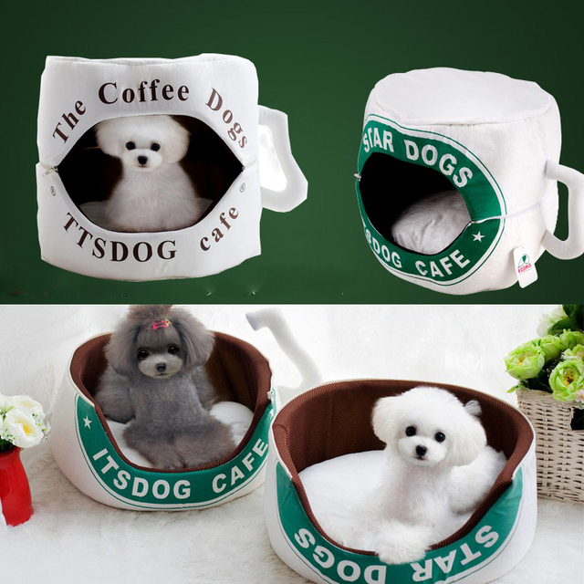 Multifunctional Coffee Cup Shape Dog Bed Pet House Cat Warm House Soft Home Pet Bed Cute