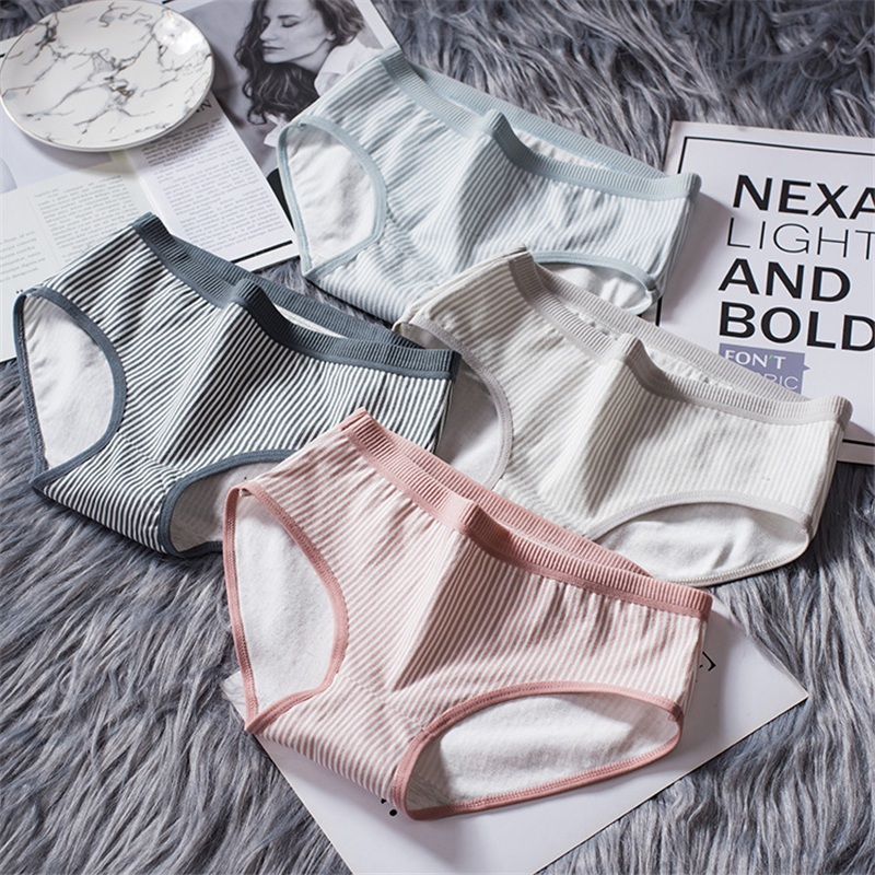 New women's underwear cotton striped cute girl   panties   female low waist pants sexy comfortable breathable contton ladies briefs