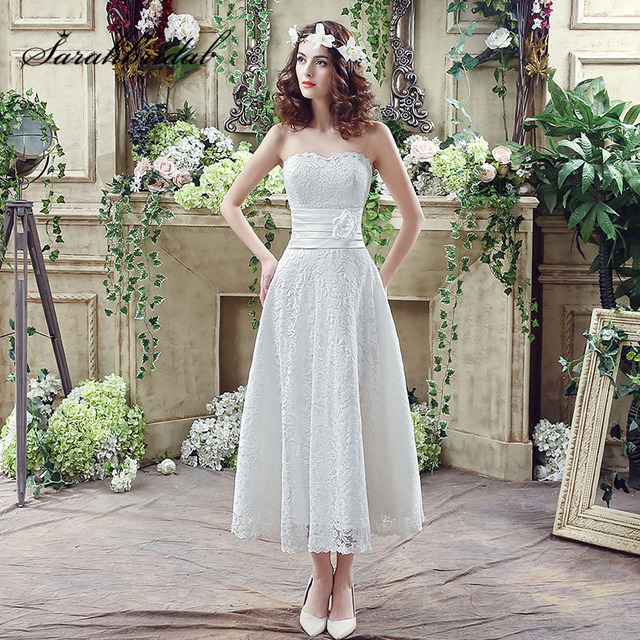 Us 95 92 20 Off Tea Length White Lace Beach Wedding Dresses With Satin Sashes Flowers Classic Sweetheart Lace Up Back Bridal Gowns Sqs038 In Wedding