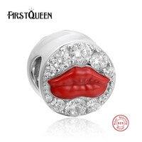 FirstQueen Clásico 925 de Plata Esterlina de Señora Sexy Lip Encantos Del Grano Con Clear Austria Crystal Pulseras Aptas y los Granos de la Joyería Que Hace