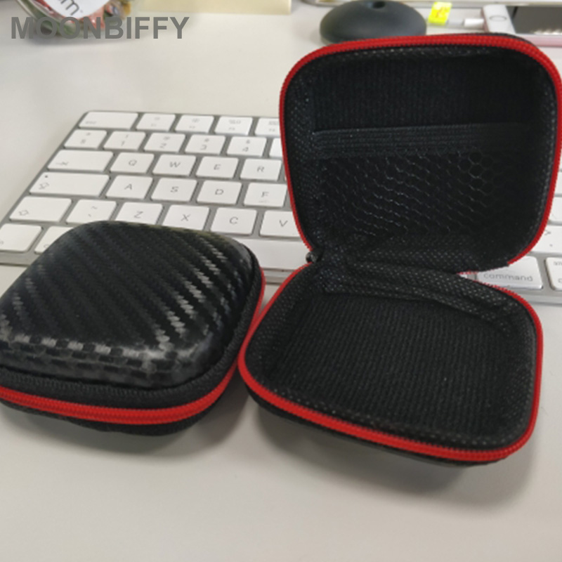 Carbon-Fiber-Zipper-Headphones-Box-Earphone-Earbuds-Hard-Case-Trinketry-Storage-Carrying-Pouch-Bag-SD-Card
