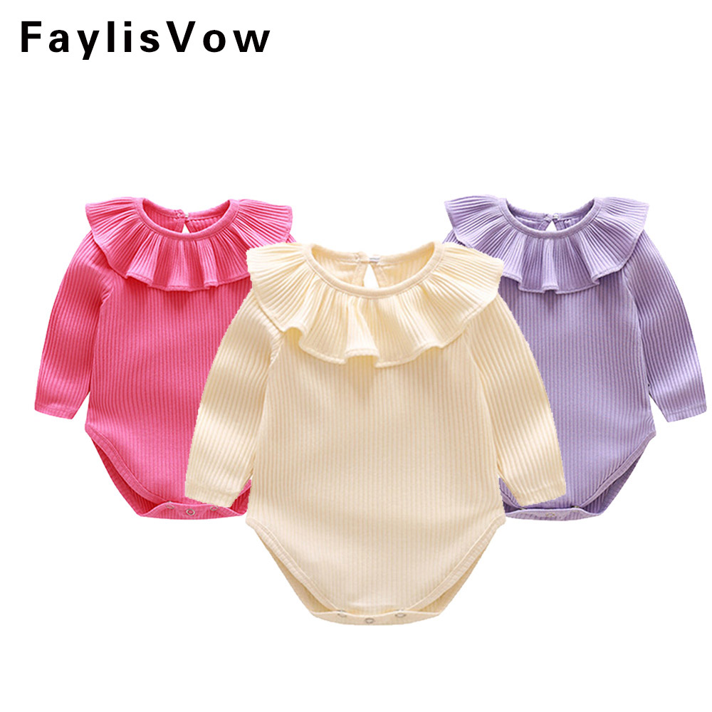 Faylisvow Infant Girls Ruffle Romper Baby Girl's Plain Rompers Jumpsuit Baby Long Sleeve Romper Newborn Girl Clothing 3-24M tie front ruffle hem striped romper