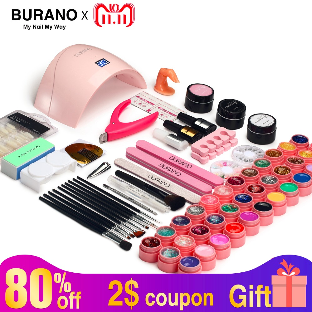 Nail kit & lamp dryer 5-15 day Russian Delivery nail set BURANO manicure set 36W LED Lamp with 36 Color UV Gel Nail polish kit burano uv led lamp