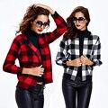 2017 Europa Moda Outono Inverno Clássico Xadrez Malhas Básico Casaco de Lazer do Sexo Feminino Jaqueta Curta Mulheres Marca Legal Jaquetas Finas