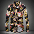 Dark color flower patterns exquisite literary style long-sleeved shirt 2016 Autumn&Winter fashion casual quality men shirt M-5XL