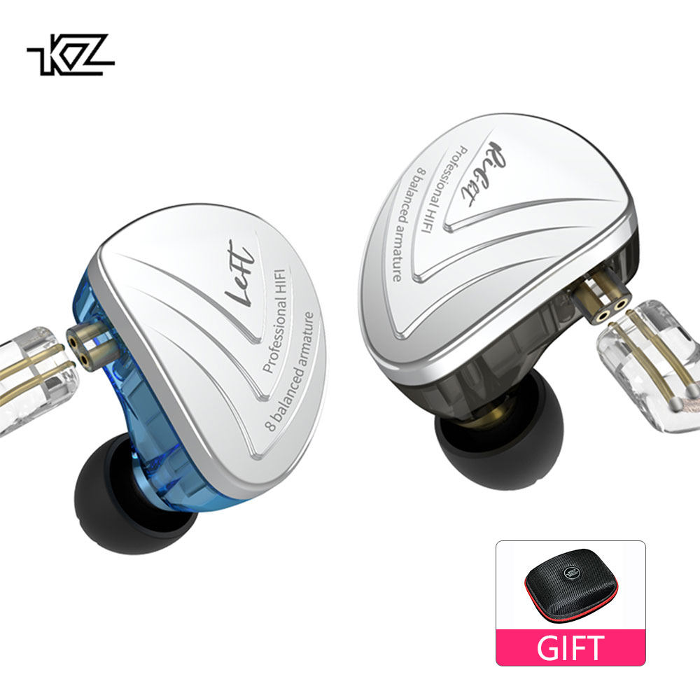 KZ AS16 8BA Driver Unit In Ear Earphone 8 Balanced Armature HIFI Monitor Stage Sports Running