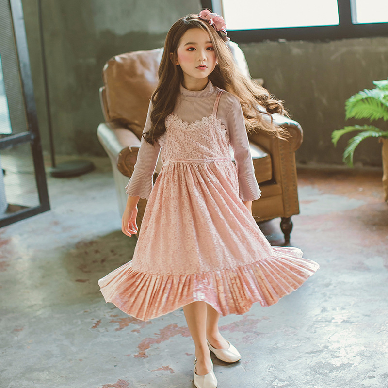 lace teenage girl party dress baby pink summer spring 2018 sleeveless elegant kids dresses for girls princess sundress clothing summer 2017 new girl dress baby princess dresses flower girls dresses for party and wedding kids children clothing 4 6 8 10 year