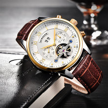 Mens Luxury Brand Genuine Leather Tourbillon Watch Men Automatic Mechanical Relogio Masculino