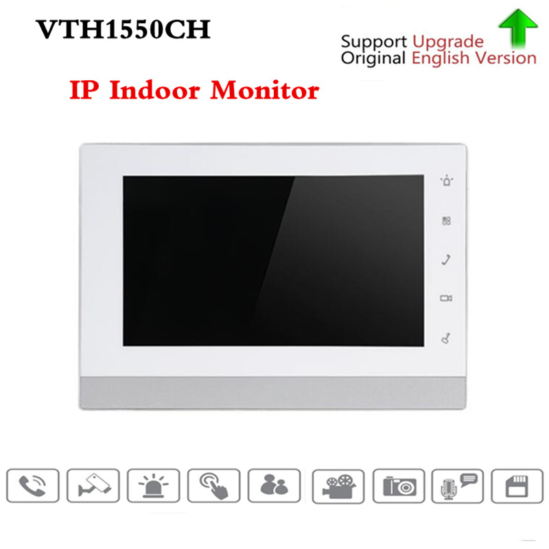 Original brand English version OEM VTH1550CH Indoor Monitor 7-inch 800X480 Resolution Touch Screen Color IP Video Intercom original 7 inch touch screen brand vth1510ch color monitor with vto2000a outdoor ip metal villa outdoor video intercom sysytem
