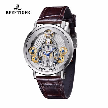 2021 Reef Tiger/RT Designer Skeleton Watches for Men Gear Wheel   Quartz Watches Leather Band RGA1958 2