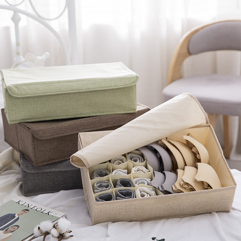 Cotton Linen Storage Box Foldable Organizer Box Underwear Socks Panties Bra Storage Organizer(China)