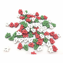 50 Pcs 2 Holes Christmas Tree Wooden Buttons , for Sewing, Scrapbooking Crafts Random delivery 7NK241