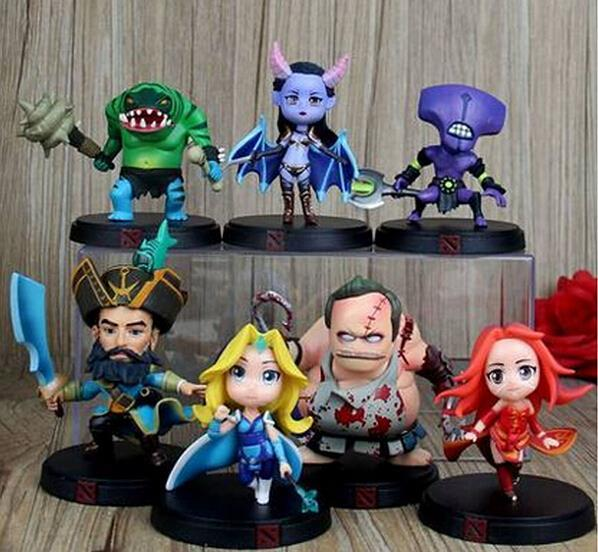 7pcs Set DOTA 2 Game Figure Kunkka Lina Pudge Queen Tidehunter CM FV PVC Action Figures