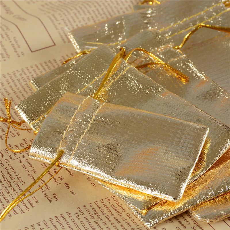 Golden Silver Organza Jewelry Gift Packaging Pouches Drwastring Bags Pouch for Christmas Wedding Decor 100pcs/lot Wholesale
