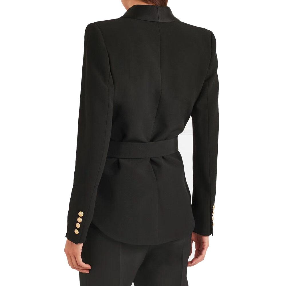 Kohuijooブラックホワイトブレザージャケット女性スリムフィット高品質ゴールデンボタンファッションブレザーfemeninoレディーススーツジャケット  グループ上の レディース衣服 からの ブレザー の中 2