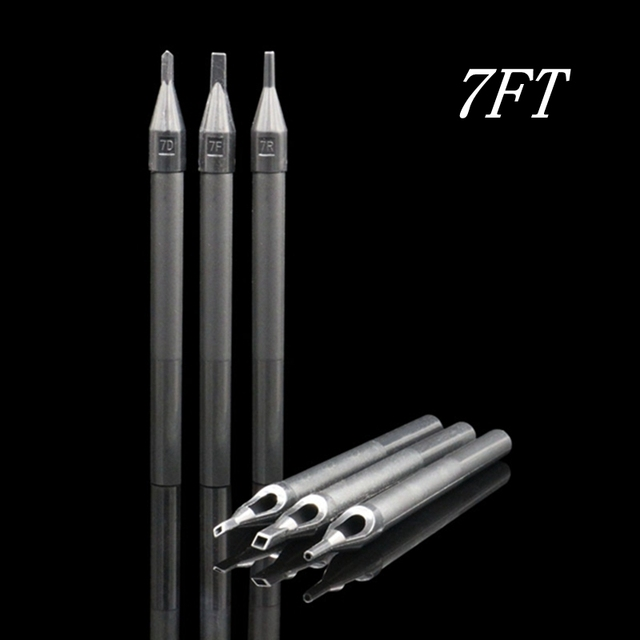 50pcs newest disposable long tattoo tips flat size 7ft black plastic