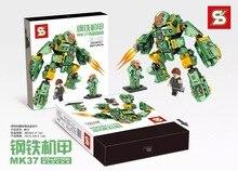 SYMK37 Super Hero Series Iron Man Steel Armor War Apparatus Kids Brick Building Block Minifigure Toys Compatible Legoe