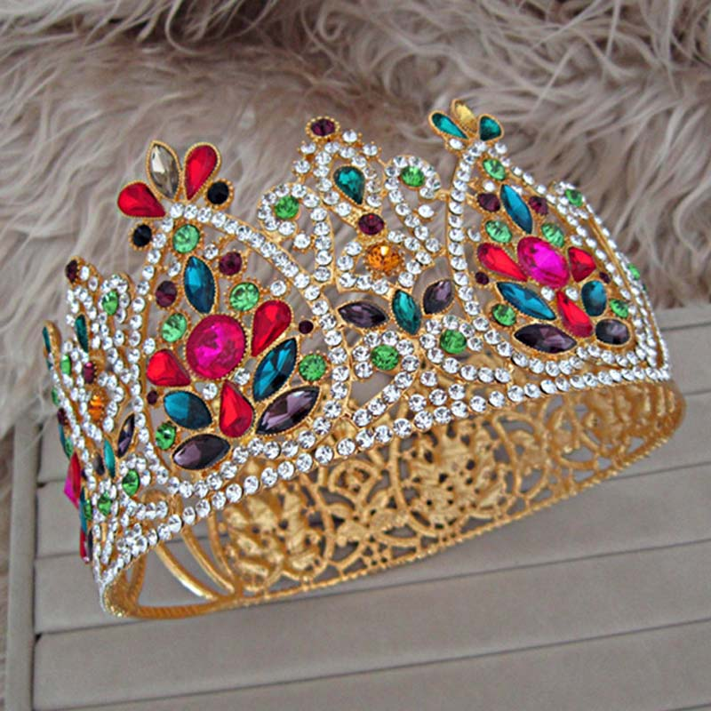 Baroque Colorful Crystal Bridal Tiaras and Crowns Vintage Gold Rhinestone Noiva Diadem Wedding Hair Accessories Pageant VL