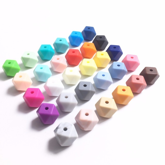Silicone Hexagon Beads Teething Mini Bead 100pcs Baby Teether Chewable Nursing Necklace Jewelry DIY Pacifier Holder Accessory