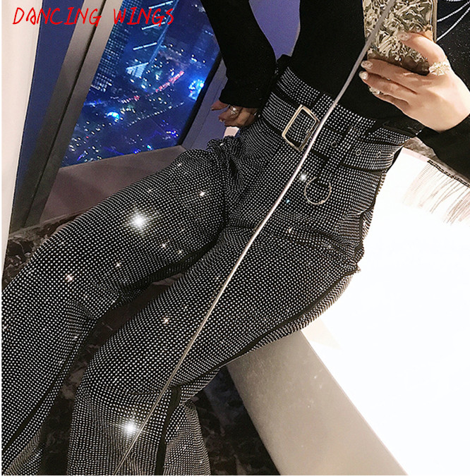 Spring Women   Pants   Hot Drilling High Waist Loose   Wide     Leg     Pants   Black Casual Long Trousers