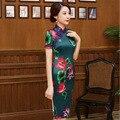 10 unids/lote 2016 de calidad superior de novia qipao chino de loto de la VENDIMIA Flores Imprimir Cheongsam largo cheongsam qipao vestidos de fiesta