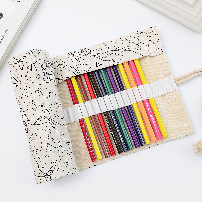 Dream Constellation 36 48 72 Holes Pencil Case Large Capacity Canvas Roll Pouch Pen Brush Bag Box School Drawing Stationery цены