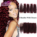 99J Malaysian Deep Wave Virgin Hair With Closure Red Wine Burgundy Human Hair Weft 4 Bundles With Closure 4x4 Lace Closure