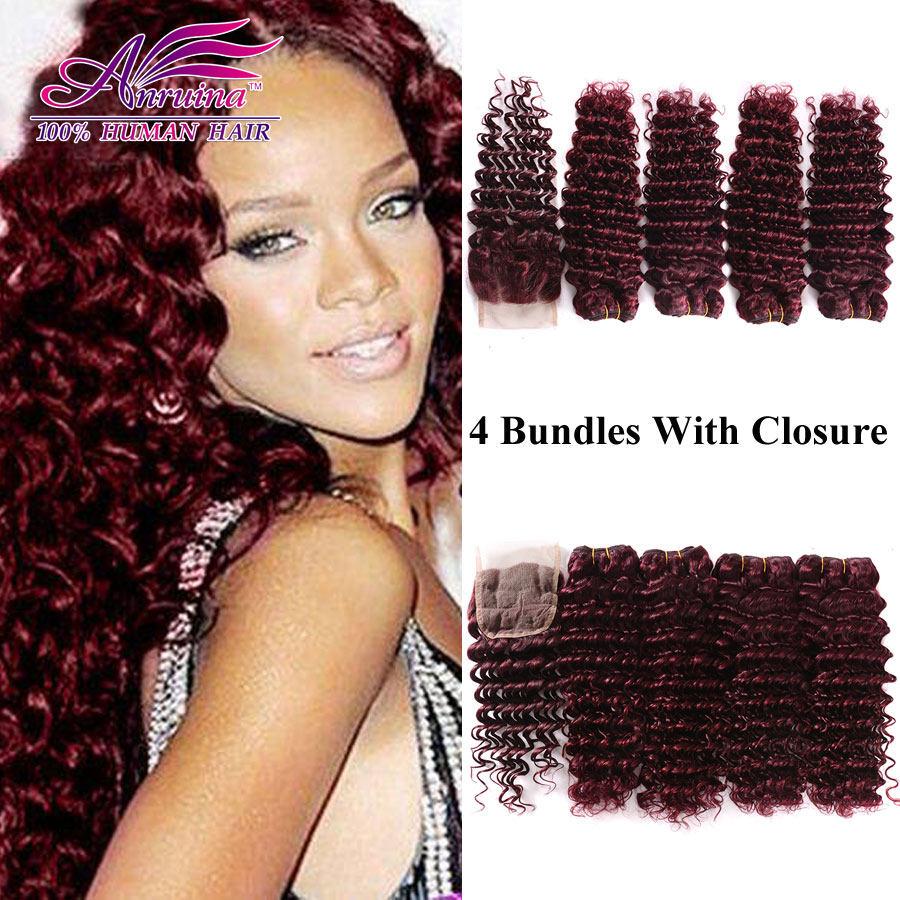 99J Malaysian Deep Wave Virgin Hair With Closure Red Wine Burgundy Human Hair Weft 4 Bundles With Closure 4×4 Lace Closure