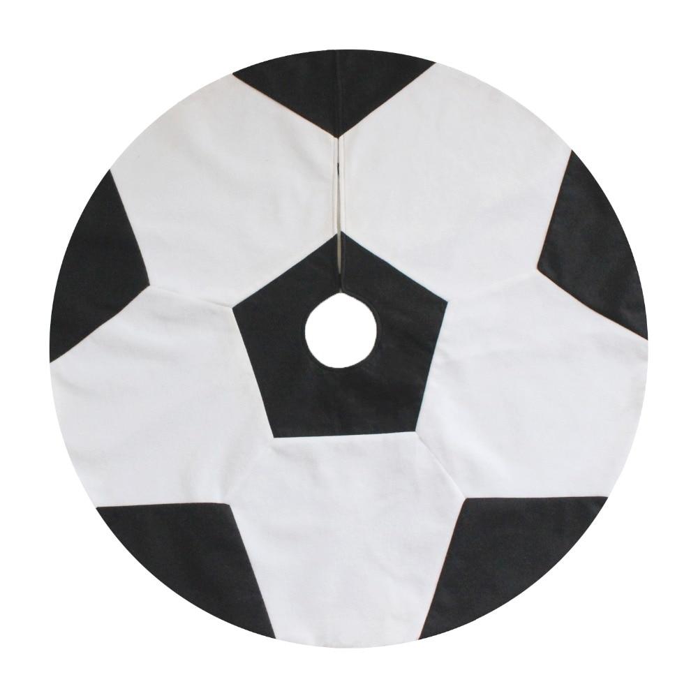 Soccer ornaments - 36 Patchwork White And Black Football Soccer Ball Design Christmas Tree Skirt Fashionable Skirt Home Decoration