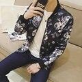 Autumn New Mens Jackets Long Sleeve Slim Fit Men Bomber Jacket Korean Fashion Print Casual Stand Collar Men's Coats Windbreaker