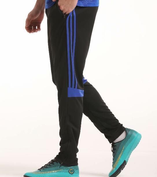 Футбольные тренировочные штаны мужские футбольные штаны из полиэстера с карманом на молнии для бега фитнес тренировки спортивные брюки для бега - Цвет: Синий