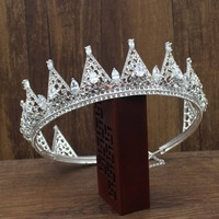 Luxurious Adjustable zirconia and Rhinestone Queen King Crown Tiara Bride Corona Diadem Wedding Bridal Hair Jewelry Accessories