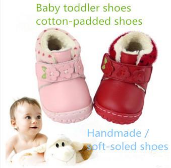 Envío libre 2016 párrafo invierno zapatos zapatos de bebé de Cuero Genuino gruesa caliente zapatos del niño del bebé