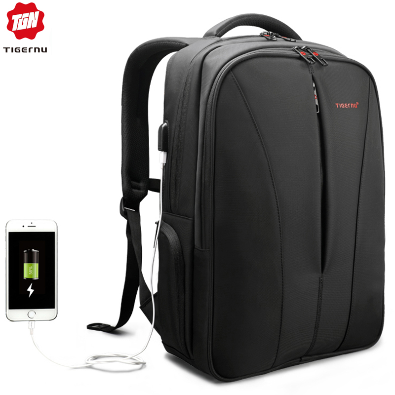 Tigernu Water Repellent Nylon Men Anti theft 15 6inch Laptop Backpacks Business USB Charger Computer Schoolbag