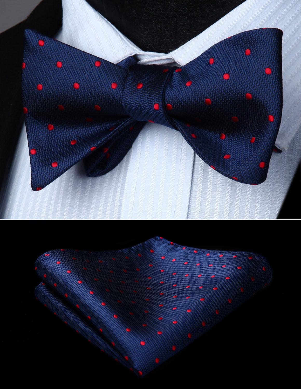 BD609VS Red Navy Blue Polka Dot Bowtie Men Butterfly Silk  Self Bow Tie Handkerchief Set