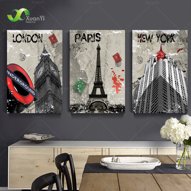 3 Panel Moderne London Paris New York City Maleri Cuadros Decoracion By By Landskabsmalerier Lærredskunst Ingen ramme PR120