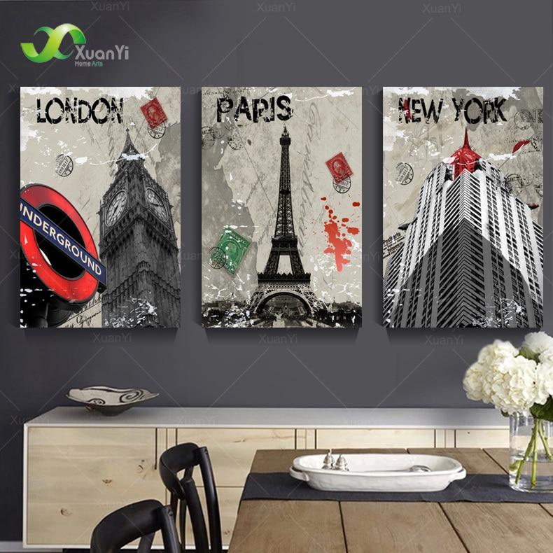 3 panel moderno Londres París Nueva York pintura cuadros decoracion ...