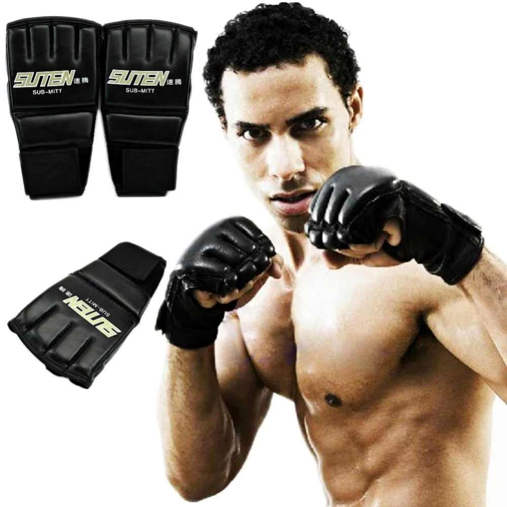1 زوج بولي Leather قفازات ملاكمة جلدية الرجال نصف الاصبع الرياضة الملاكمة التايلاندية قفازات Mma ركلة الملاكمة قفازات التدريب قفازات ملاكمة أحدث