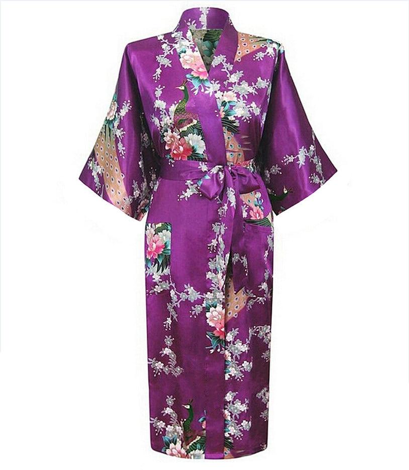 Purple Summer Womens Kimono Robe Bathrobe Sleepwear Rayon Bath Gown Nightgown Pyjamas Mujer Pijama Size S M L XL XXL XXXL 031