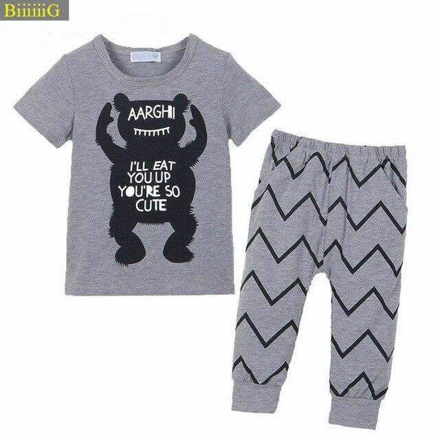 86489454c Infant clothes sets baby clothing sets boy Cotton little monsters ...