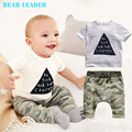 Bear Leader 2016 Summer New Arrival Baby Boys Clothing Sets White Short Sleeve Letters T-shirt+Camouflage trousers 2pcs Clothes