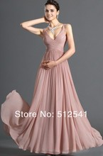 Elegant Simple style Evening Dress Formal Sheath V Neck Chiffon Pleat Sleeveless sales promotion yk8P03