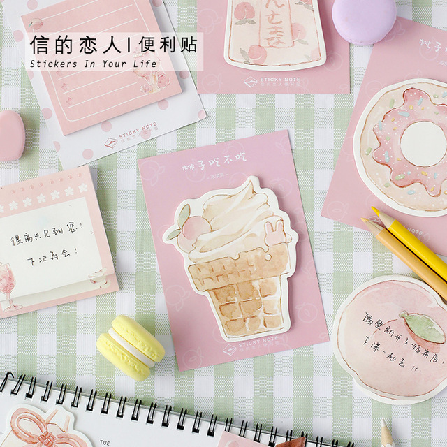 Lovely Pink Peach Series Sticky Notes Student Planner Stickers Notepad Kawaii Stationery Diary Memo Pad