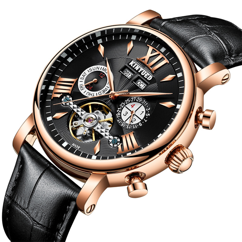 Kinyued Skeleton Tourbillon Mechanical Watch Automatic Men Classic Male Gold Dial Leather Mechanical Wrist Watches J017P-2 цена