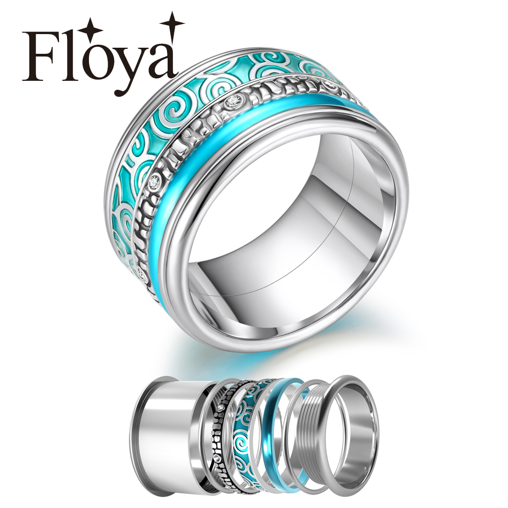 Floya Love Wedding Band Ring Set Personalized Women Stainless Steel Ring Layers Vintage Interchangeable Ring Femme