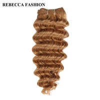 Rebecca Non Remy Hair Bundles Brazilian Deep Wave 100g Human Hair Weave Pre Colored Brown For