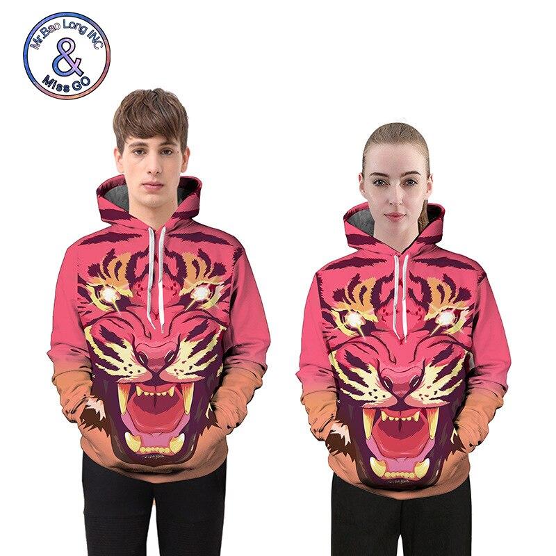 Sweatshirts For Women Men 2018 Casual Loose 3D Tiger Print High Street Hooded Hoodies Pullovers Pink Couple Sweatshirts L6682