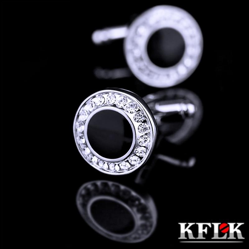 KFLK 2018 Marque De Luxe Noir manchette bouton de manchette boutons De manchette En Cristal de Haute Qualité abotoadura chemise bouton de manchette pour les hommes Bijoux