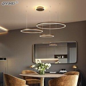 Image 4 - 現代のledペンダントライトリビングダイニングルーム調光対応サスペンション照明器具suspendu円形リングコーヒーhanglamp luminaria